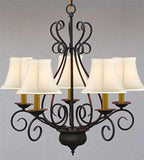 "Wrought Iron Chandelier Crystal Lighting Empress Crystal (Tm) Chandeliers H25.5"" W25.5"" - P7-SC/WHITESHADE/441/5"