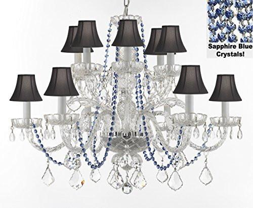 "Authentic All Crystal Chandelier Chandeliers Lighting With Sapphire Blue Crystals And Black Shades Perfect For Living Room Dining Room Kitchen H32"" W27"" - F46-B82/Blackshades/385/6+6"
