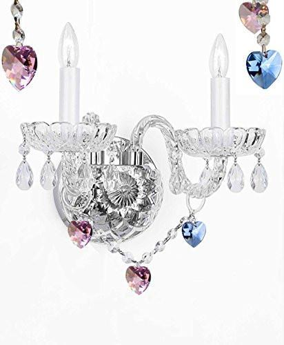 Swarovski Crystal Trimmed Wall Sconce Lighting With Crystal Blue And Pink Hearts - Perfect For Boys And Girls Bedrooms - G46-B85/B21/2/386 Sw