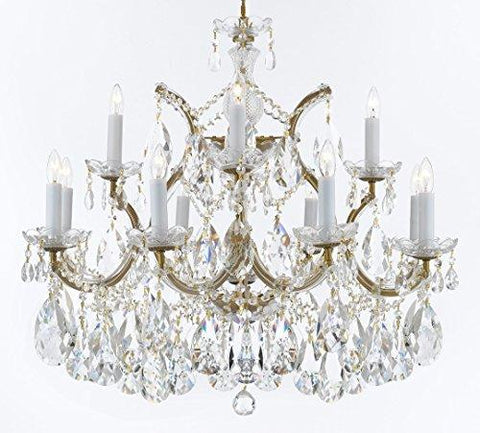 "Maria Theresa Chandelier Crystal Lighting Chandeliers Lights Fixture Pendant Ceiling Lamp for Dining room, Entryway , Living room with Large, Luxe, Diamond Cut Crystals! H22"" X W28"" - A83-B89/21532/12+1DC"