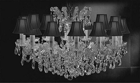 "Maria Theresa Chandelier Crystal Lighting Chandeliers Lights Fixture Pendant Ceiling Lamp For Dining Room Entryway Living Room H21"" X W31"" With Shades - A83-Sc/Blackshades/Cs/2489/14"