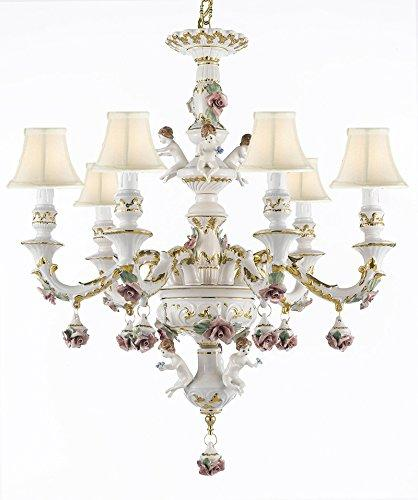 Authentic Capodimonte Porcelain Chandelier Lighting w/ Cherub Angels Made in Italy Good for Dining Room, Kids & Girls Bedrooms 24K Gold Trimmed w/ Roses & Flowers- With White Shades - GB102-SC/Whiteshades/119/6