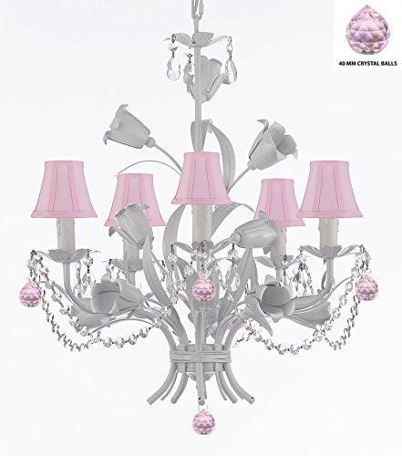 "White Wrought Iron Floral Chandelier Empress Crystal (Tm) Flower Chandeliers Lighting H23"" X W19"" With Pink Shades - J10-Sc/Pinkshade/B76/B52/White/325/5"
