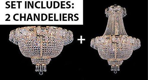 "Set Of 2 - French Empire Crystal Chandelier Lighting H 30"" W24"" + Flush French Empire Crystal Chandelier Lighting 19.5"" X 24"" - 1Ea-A93-928/9+1Ea-A93-Flush/Cg/928/9"