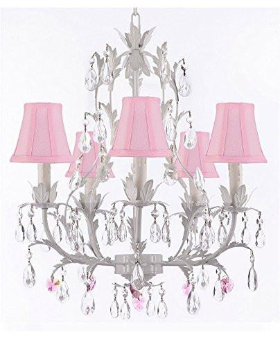 White Wrought Iron Floral Chandelier Lighting W/ Pink Hearts And Shades - J10-Sc/Pinkshade/B21/White/26016/5