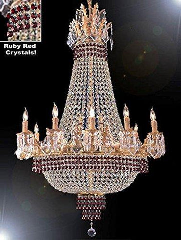 "Empire Crystal Chandelier Chandeliers Lighting Dressed With Ruby Red Crystals Great For The Dining Room Foyer Living Room H40"" X W30"" - G81-B74-Cg/1280/10+5"