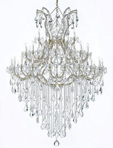 "Large Foyer / Entryway Maria Theresa Crystal Chandelier Lighting H 72"" W 52"" Trimmed With Spectra Crystal - Reliable Crystal Quality By Swarovski - Gb104-Gold/B13/2756/36+1Sw"
