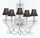 "Swarovski Crystal Trimmed Murano Venetian Style Chandelier Crystal Lights Fixture Pendant Ceiling Lamp for Dining Room, Entryway , Living Room w/Large, Luxe Crystals! H25"" X W24"" w/ Black Shades - A46-BLACKSHADES/B93/B89/384/5SW"
