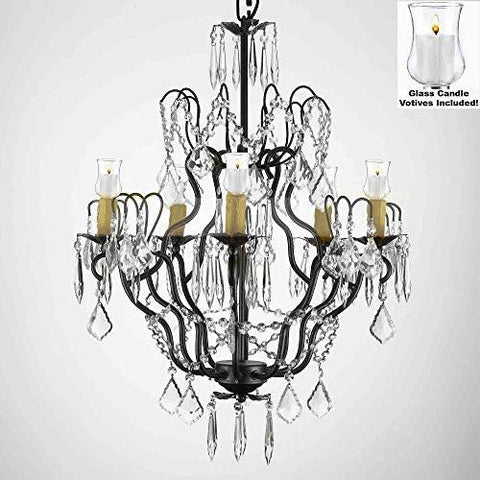 "Crystal Chandelier W/ Candle Votives H27"" X W21""- For Indoor / Outdoor Use Great For Outdoor Events Hang From Trees / Gazebo / Pergola / Porch / Patio / Tent - P7-B31/C/3033/5"