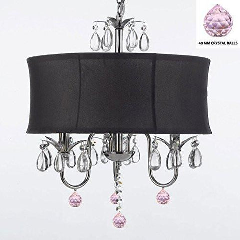"Crystal Chandelier Chandeliers With Large Black Shade And Pink Crystal Balls W18"" H 22"" - Perfect For Kids' And Girls Bedrooms - J10-B76/Black/26032/3"