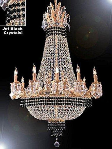 "Empire Crystal Chandelier Chandeliers Lighting Dressed With Jet Black Crystals Great For The Dining Room Foyer Living Room H40"" X W30"" - G81-B79-Cg/1280/10+5"