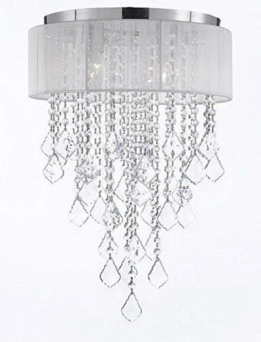 Flushmount 4-Light Chrome And White Shade Crystal Chandelier Lighting Empress Crystal (Tm) - G7-B7/B12/2130/4