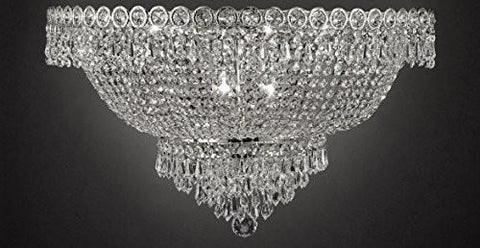 "French Empire Empress Crystal(Tm) Flush Basket Chandelier Lighting H 12"" W 20"" - Cjd-Flush/Cs/2176/20"