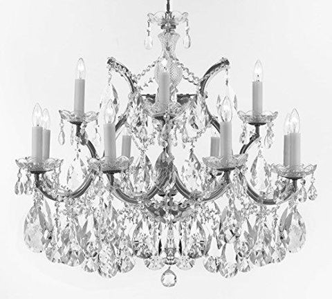 "Maria Theresa Chandelier Crystal Lighting Chandeliers Lights Fixture Pendant Ceiling Lamp for Dining room, Entryway , Living room with Large, Luxe, Diamond Cut Crystals! H22"" X W28"" - A83-CS/B89/21532/12+1DC"