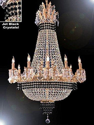 "Empire Crystal Chandelier Chandeliers Lighting Dressed With Jet Black Crystals Great For The Dining Room Foyer Living Room H32"" X W25"" - B79-Cg/1284/8+4"