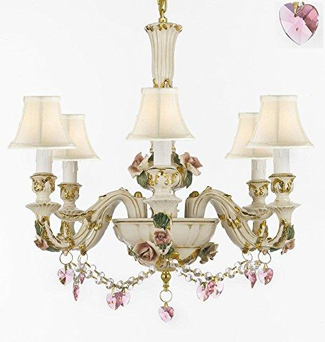 Authentic Capodimonte Porcelain Chandelier Lighting Chandeliers Cottage Chic Made in Italy, 24K Gold Trimmed w/ Roses & Flowers Dressed w/ Pink Hearts Crystals With White Shades - GB102-SC/WHITESHADES/B52/B23/435/6