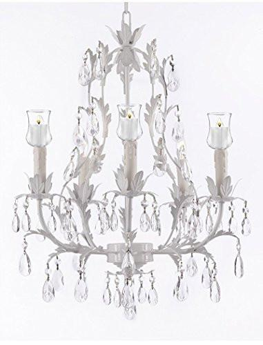 White Wrought Iron Floral Chandelier W/ Votive Candles - For Indoor / Outdoor Use Great For Outdoor Events Hang From Trees / Gazebo / Pergola / Porch / Patio / Tent - J10-B31/White/26016/5