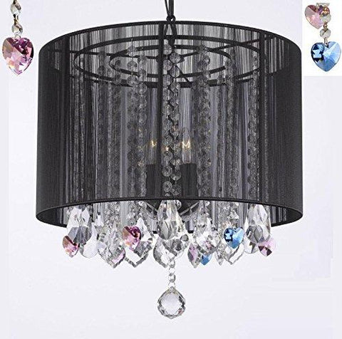 "Crystal Chandelier Chandeliers With Large Black Shade And Blue And Pink Crystal Hearts H15"" X W15"" - Perfect For Kids' And Girls Bedrooms - G7-B85/B21/Black/Sm/604/3"