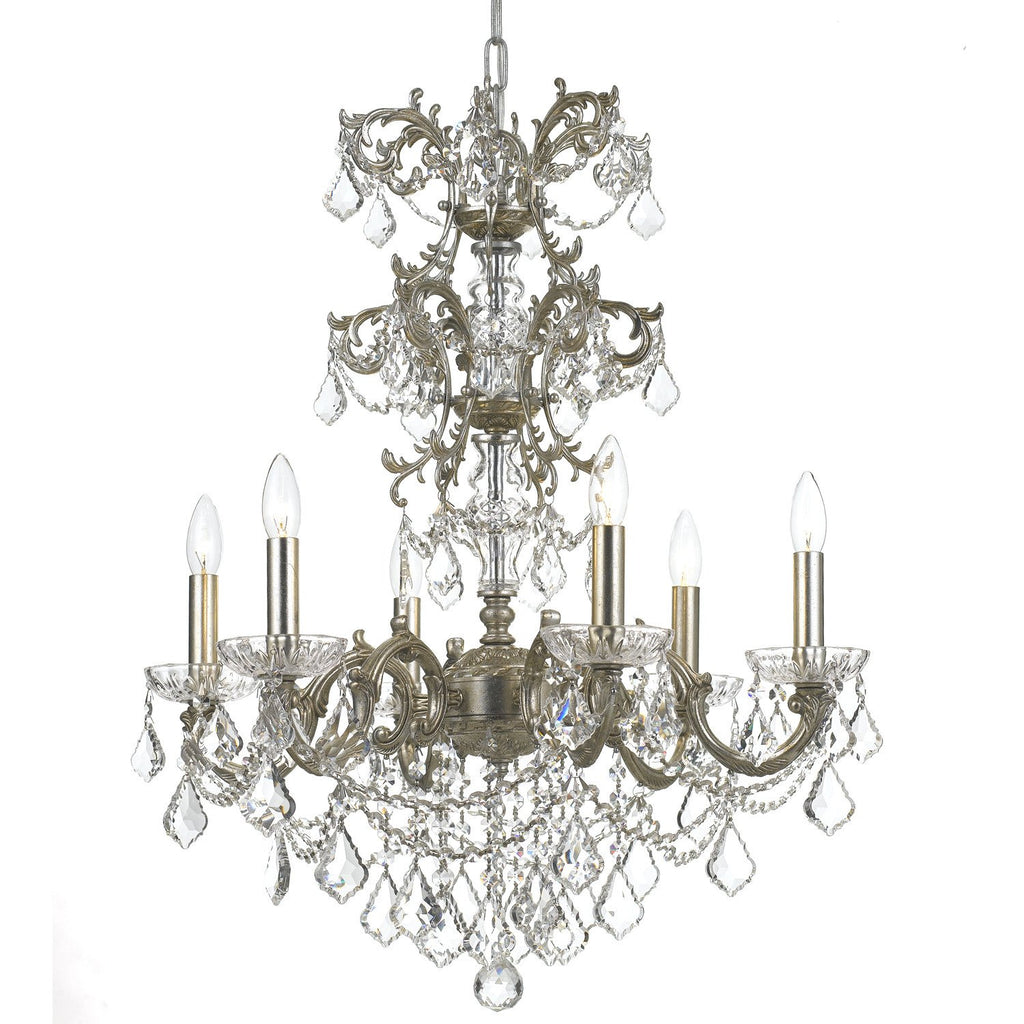 6 Light Olde Silver Traditional Chandelier Draped In Clear Swarovski Strass Crystal - C193-5286-OS-CL-S