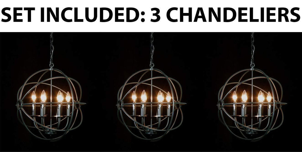 "Set of 3 - Spherical Orb Wrought Iron Chandelier Lighting Country French 6 Lights Ceiling Fixture Sphere Modern Rustic H 20"" W 20"" - Great for The Kitchen, Dining Room, Bedroom and More ! - 3EA G7-ORB/6"