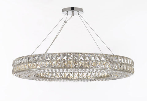 "Crystal Nimbus Ring Chandelier Chandeliers Modern / Contemporary Lighting Pendant 44"" Wide - Good for Dining Room, Foyer, Entryway, Family Room and More! - GB104-3063/17"