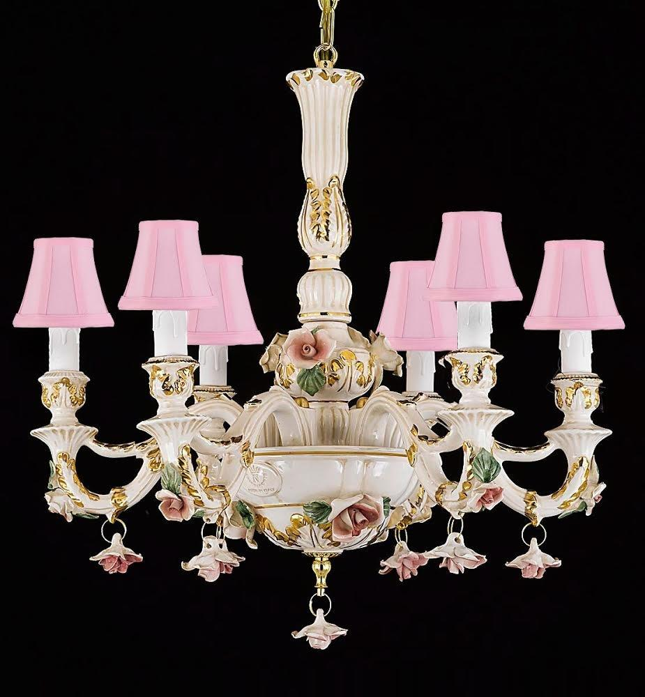 Authentic Capodimonte Porcelain Chandelier Lighting Chandeliers Lighting Empress Crystal (Tm) Cottage Chic Made in Italy, Good for Dining Room, Kids & Girls Bedrooms 24K Gold Trimmed w/ Roses & Flowers with Pink Shades - B102-PINKSHADES/435/6