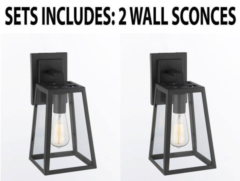 "Set Of 2 - Modern Filament Clear Glass Wall Sconce - Good For Outdoor Lighting & Indoor Use - Wrought Iron Vintage Barn Metal Industrial Urban Loft Rustic Wall Mount Lighting -Size:6""W X 7""D X 13""H - G7-3165/1-SET OF 2"