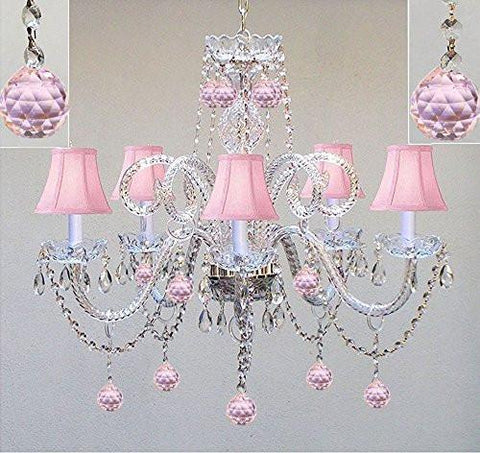 "Chandelier Lighting W/ Crystal Pink Shades & Balls H25"" X W24"" - Perfect For Kid'S And Girls Bedroom - Go-A46-Pinkshades/387/5/Pinkballs"