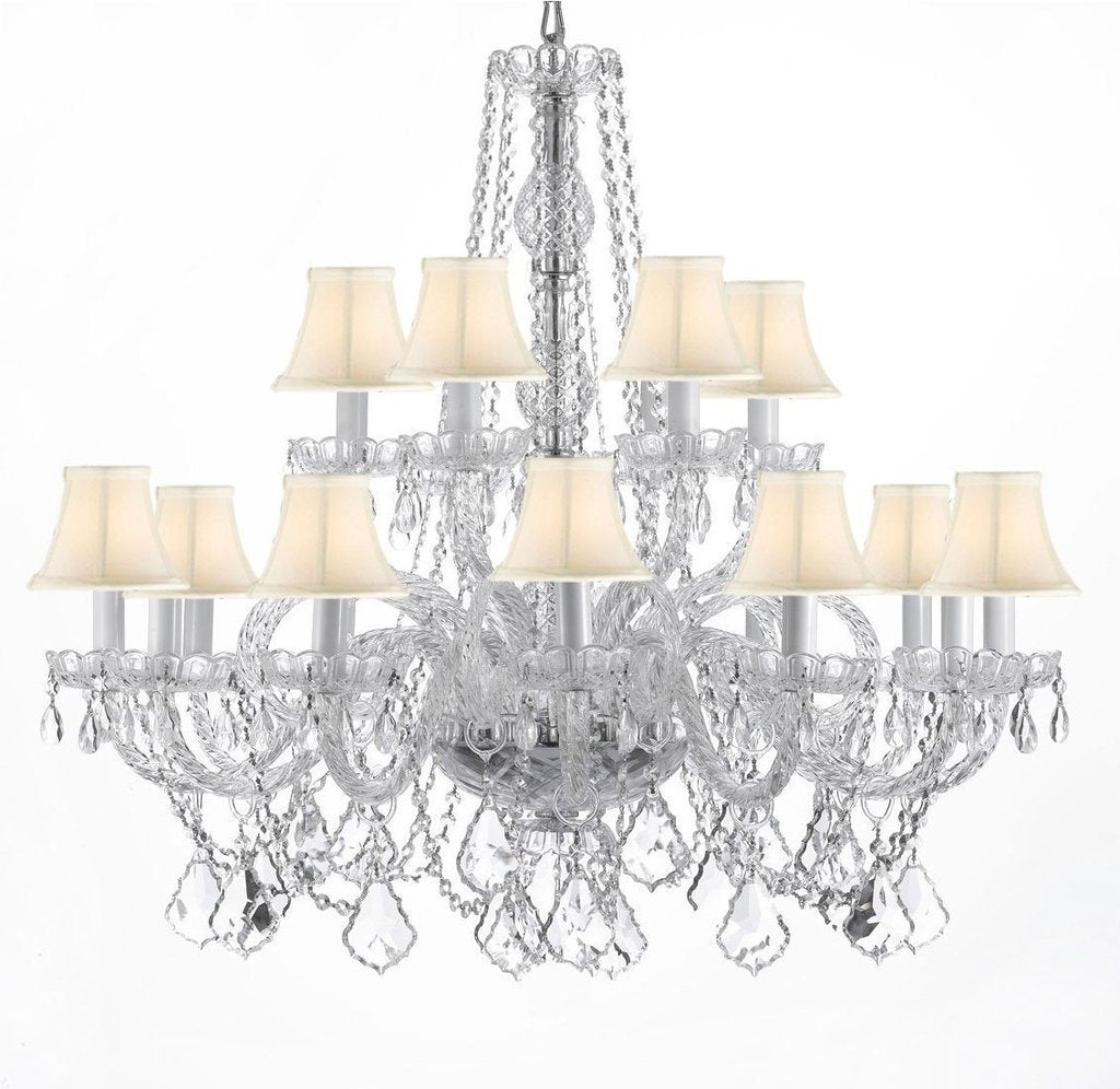 "Swarovski Crystal Trimmed Chandelier Crystal Chandelier Lighting With White Shades H 38"" X W 37"" - A46-WHITESHADES/CS/385/9+9SW"