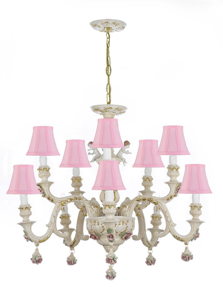 Authentic Capodimonte Porcelain Chandelier Lighting w/Cherub Angels Made in Italy Good for Dining Room, Kids Girls Bedrooms 24K Gold Trimmed w/Roses & Flowers-Limited Stock Available, w/Pink shades - GB102-SC/Pinkshades/227/5+5