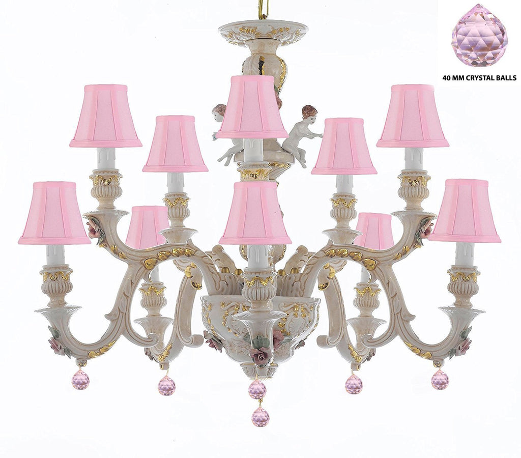 Authentic Capodimonte Porcelain Chandelier Lighting Chandeliers Cottage Chic Made in Italy, Trimmed w/ Roses & Flowers Dressed w/ Pink balls Crystals With Pink Shades - GB102-SC/PINKSHADES/B76/227/5+5