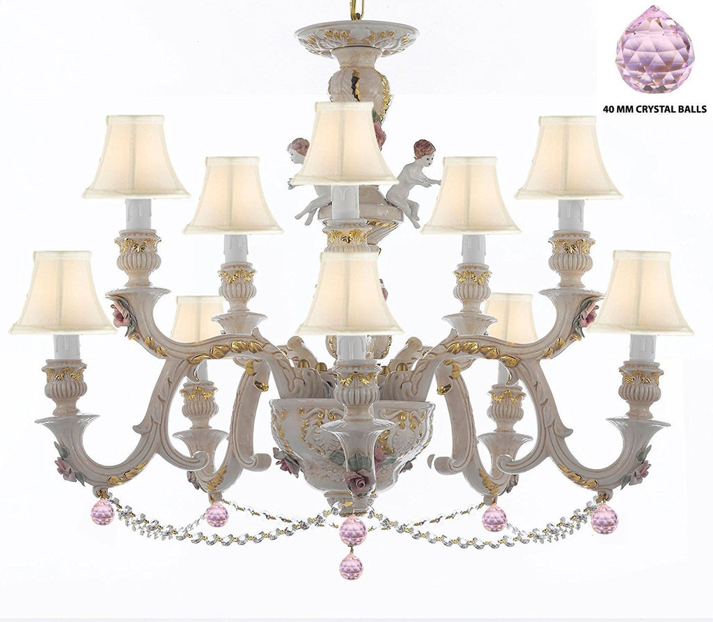 Authentic Capodimonte Porcelain Chandelier Lighting Chandeliers Cottage Chic Made in Italy, Trimmed w/ Roses & Flowers Dressed w/ Crystals and Balls With White Shades - GB102-SC/WHITESHADES/B76/B52/227/5+5