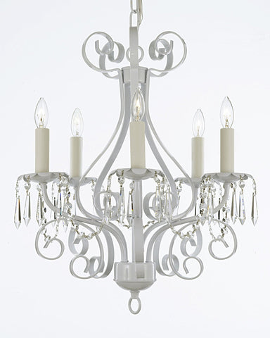 Wrought Iron Crystal Chandelier Lighting Country French White 5 Light Ceiling Fixture Wrought Country French Mini Kitchen - CL/30175/5 white