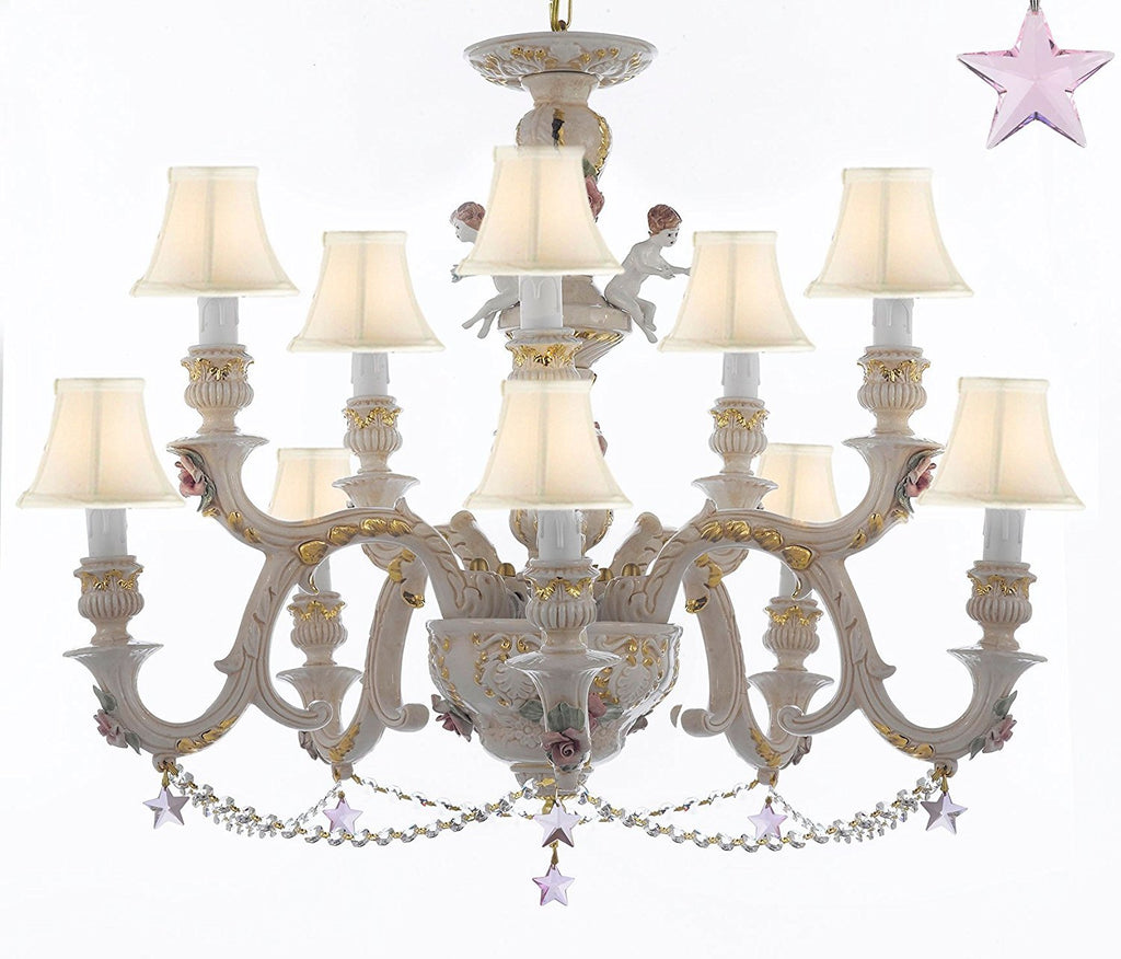 Authentic Capodimonte Porcelain Chandelier Lighting Chandeliers Cottage Chic Made in Italy, Trimmed w/ Roses & Flowers Dressed w/ Pink Stars Crystals With White Shades - GB102-SC/WHITESHADES/B38/B52/227/5+5