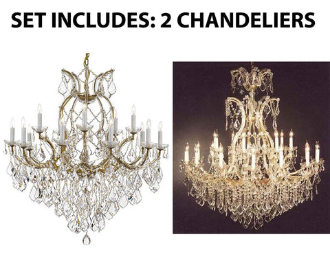 "Set of 2-1 Maria Theresa Crystal Lighting Chandeliers Lights Fixture Ceiling Lamp H38"" X W37"" and 1 Crystal Chandelier Lighting Chandeliers Size: H52"" X W46"" - 1/21510/15+1 + 52/2MT/24+1"