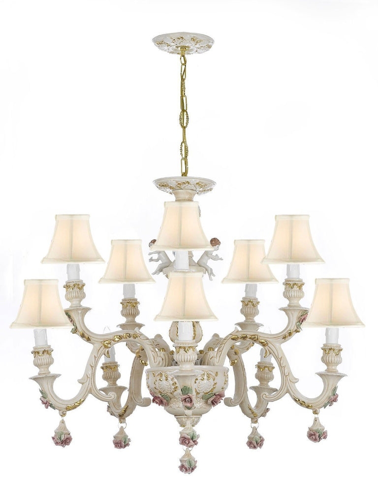 Authentic Capodimonte Porcelain Chandelier Lighting w/Cherub Angels Made in Italy Good for Dining Room, Kids Girls Bedrooms 24K Gold Trimmed w/Roses & Flowers-Limited Stock Available, w/White Shades - GB102-SC/Whiteshades/227/5+5
