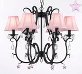 Wrought Iron Chandelier Chandeliers Lighting W/ Pink Empress Crystal(TM) Stars And Pink Shades - For Nursery, Kids, Girls Bedrooms, Kitchen, Etc - A7-B38/SC/406/6