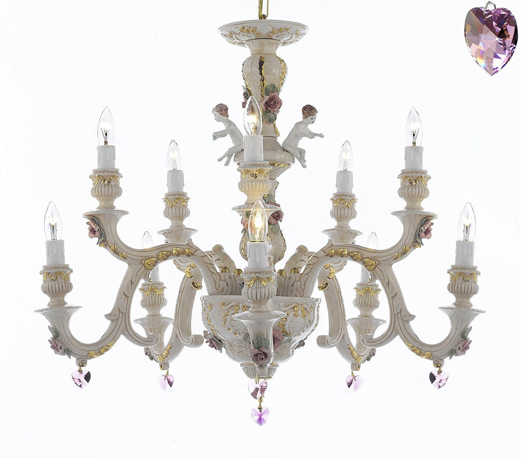 Authentic Capodimonte Porcelain Chandelier Lighting Chandeliers Cottage Chic Made in Italy, Trimmed w/ Roses & Flowers Dressed w/ Pink Hearts Crystals - GB102-B21/227/5+5
