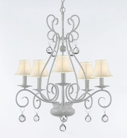 WROUGHT IRON CHANDELIER WITH CRYSTAL BALLS With White Shade - P7-Sc/White/B6/441/5/Whiteshades