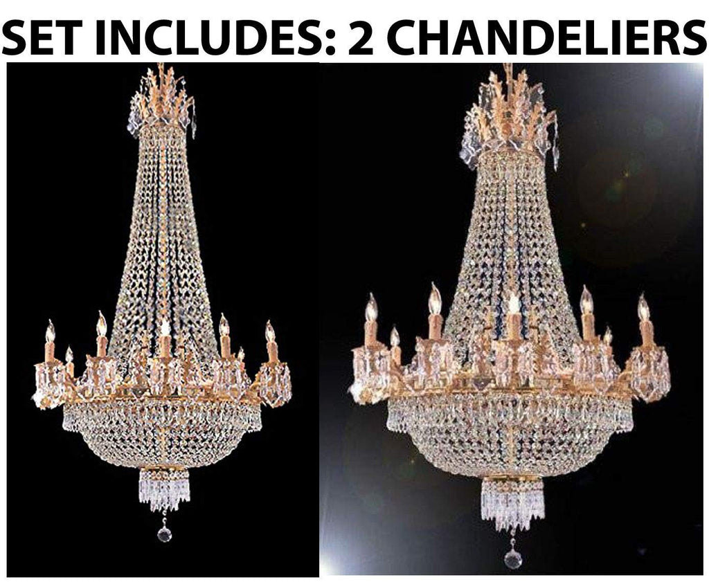"Set of 2-1 French Empire Gold Crystal Chandelier Lighting W 25"" H52"" 12 Lights and 1 French Empire Gold Crystal Chandelier Lighting 25 x 32, 12 Lights - 1EA C7/1280/8+4 + 1EA 1280/8+4"
