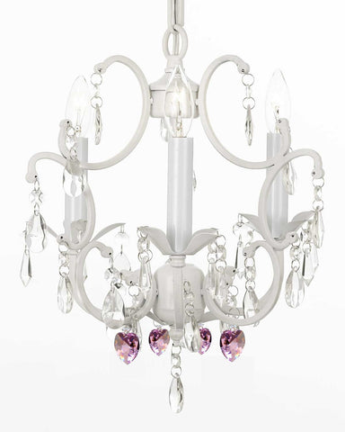 "White Wrought Iron Crystal Mini Chandelier w/ Pink Crystal Hearts H14"" X W11"" Swag Plug In-chandelier w/ 14' Feet of Hanging Chain and Wire - G7-B17/B21/WHITE/618/3"
