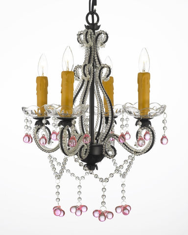 Tole Wrought Iron Crystal Chandelier 4 Lights Lighting Country French Ceiling Fixture Wrought Country French Min Kitchen - J10-327/4