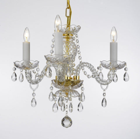 Authentic All Crystal Chandelier Lighting 13hx12w 3lts Murano - J10-275/3 GOLD
