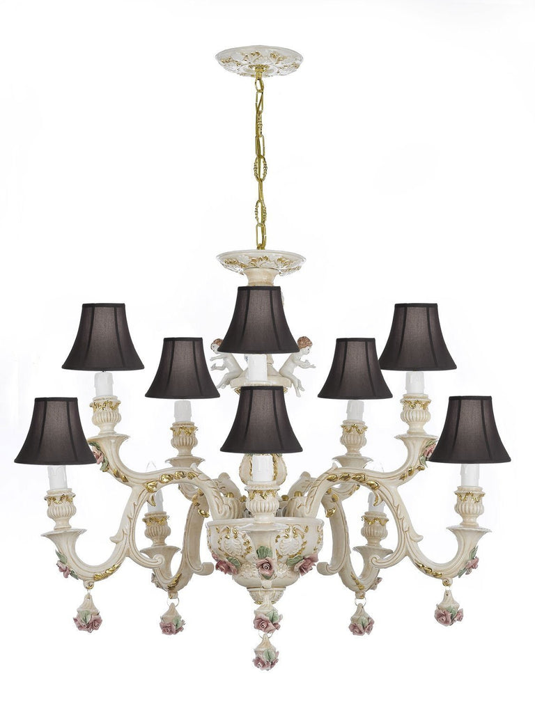 Authentic Capodimonte Porcelain Chandelier Lighting w/Cherub Angels Made in Italy Good for Dining Room, Kids Girls Bedrooms 24K Gold Trimmed w/Roses & Flowers-Limited Stock Available, w/Black shades - GB102-SC/Blackshades/227/5+5