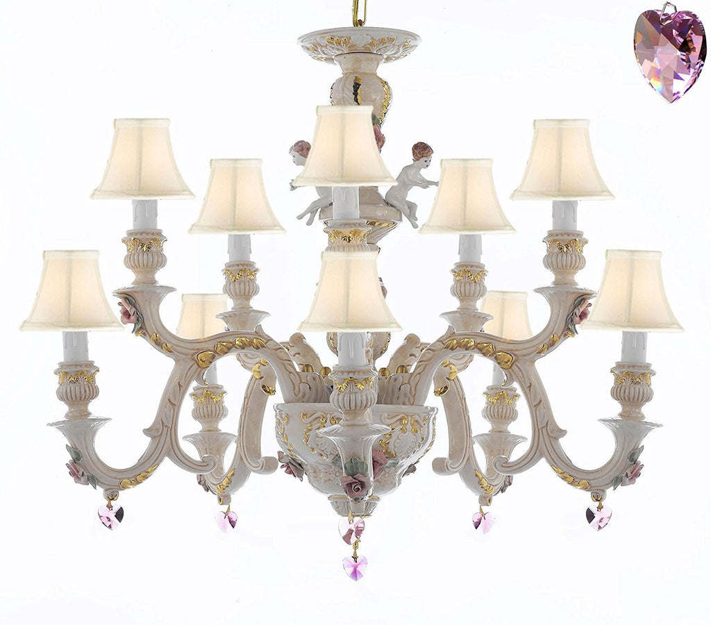 Authentic Capodimonte Porcelain Chandelier Lighting Chandeliers Cottage Chic Made in Italy, Trimmed w/ Roses & Flowers Dressed w/ Pink Hearts Crystals With White Shades - GB102-SC/WHITESHADES/B21/227/5+5