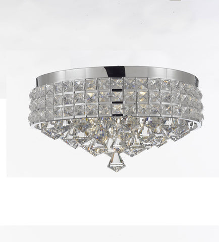 Flush Mount French Empire Crystal Chandelier Chandeliers Lighting Ht 8 X Wd 15 4 Lights Crystal Silver Metal Shade flushmount Rustic Modern - 26004/4-flush