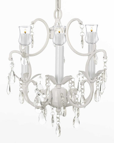 "WHITE WROUGHT IRON CRYSTAL MINI CHANDELIER W/ Candle Votives H14"" x W11"" - For Indoor / Outdoor Use Great for Outdoor Events, Hang from Trees / Gazebo / Pergola / Porch / Patio / Tent  - G7-B31/WHITE/618/3"