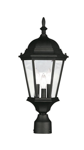 Livex Hamilton 3 Light Black Outdoor Post Lantern - C185-7563-04