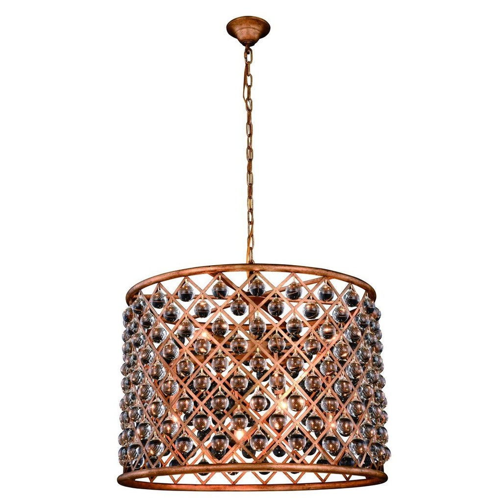 ZC121-1204D27GI/RC - Urban Classic: Madison 8 light Golden Iron Chandelier Clear Royal Cut Crystal