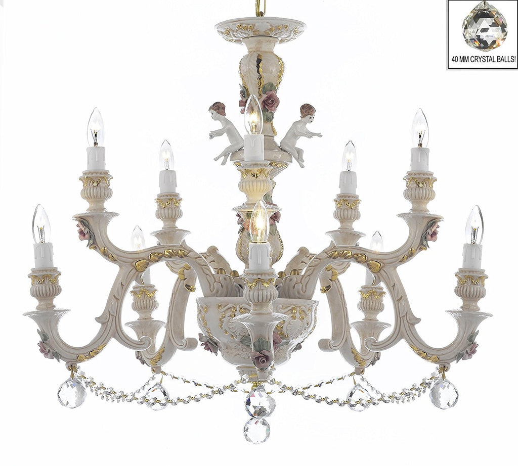 Authentic Capodimonte Porcelain Chandelier Lighting Chandeliers Cottage Chic Made in Italy, Trimmed w/ Roses & Flowers Dressed w/ Crystals and Crystals Balls - GB102-B6/B52/227/5+5